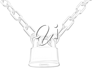 chains and padlock isolation on white background - 3d illustration