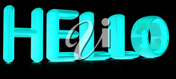3d text hello on a black background