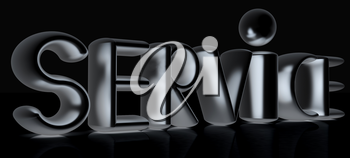 3d metal text service on a black background