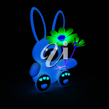 soft toy hare with a little hearts on white paws and cosmos flower on a black background