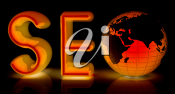 3d illustration of text 'SEO' with earth globe on a black background
