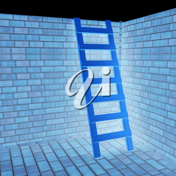 Ladder leans on brick wall on a black background