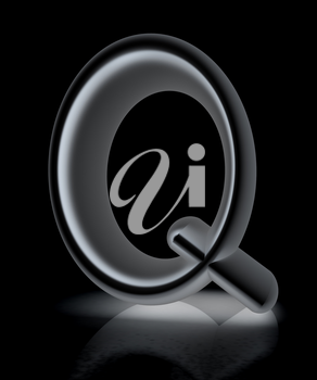 3D metall letter Q isolated on white