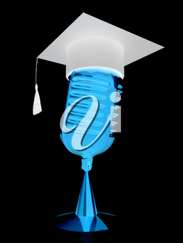 New 3d concept of education with microphone and graduation hat
