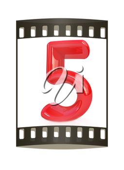 Number 5- five on white background. The film strip