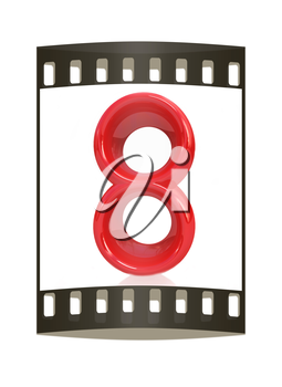 Number 8- eight on white background. The film strip