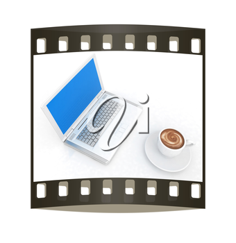 3d cup and a laptop on a white background. The film strip