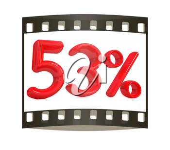 3d red 53 - fifty three percent on a white background. The film strip