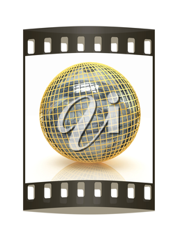 Sphere from  dollar on a white background. The film strip