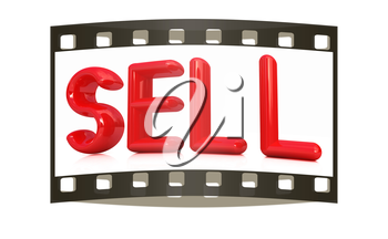 sell 3d red text on a white background. The film strip