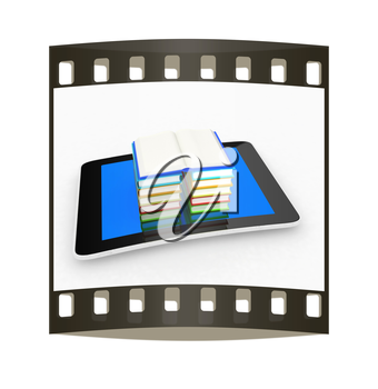 tablet pc and colorful real books on white background. The film strip