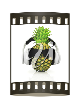 Pineapple with sun glass and headphones front face on a white background. The film strip