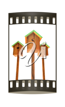 Nesting boxes on a white background. The film strip