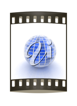 abstract 3d sphere with blue mosaic design on a white background. The film strip