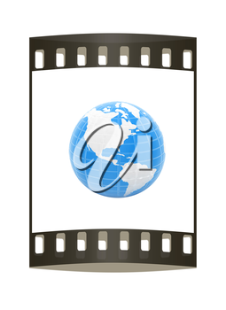 Earth Isolated on white background. The film strip