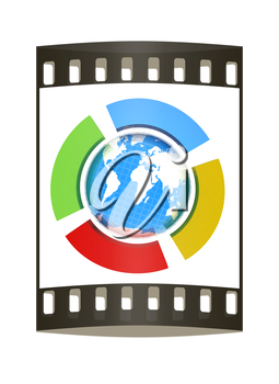 Earth and four semi-circle. The concept of four-time season ( winter-blue,spring-green,  summer-red,yellow-autumn). 3d button. The film strip