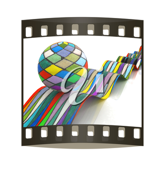 Mosaic ball on a colorful waves on a white background. The film strip