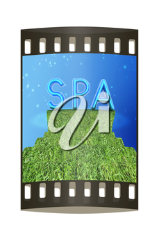 Background image of 3d text SPA on a white background. The film strip