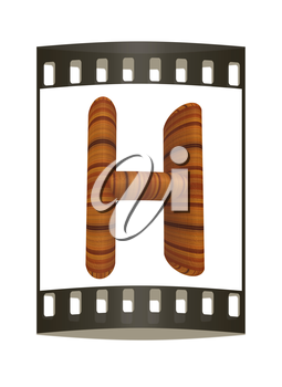 Wooden Alphabet. Letter H on a white background. The film strip