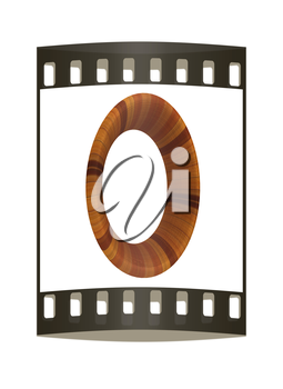 Wooden number 0- zero on a white background. The film strip