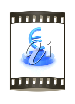 Euro sign on podium. 3D icon on white background (high details and quality of the rendering). The film strip