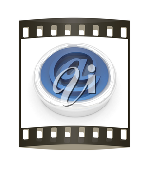 3d button email Internet push  on a white background. The film strip
