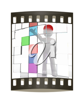 3d man making choice, on white background. The film strip