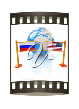 Three-dimensional image of the turnstile and flags of USA and Russia on a white background. The film strip