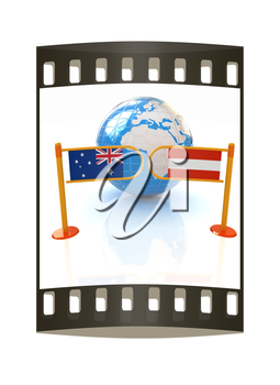 Three-dimensional image of the turnstile and flags of Australia and Austria on a white background. The film strip