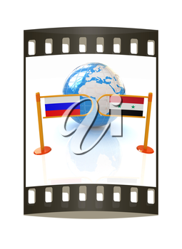 Three-dimensional image of the turnstile and flags of Russia and Syria on a white background. The film strip
