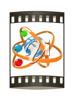 3d atom isolated on white background. Global concept. The film strip