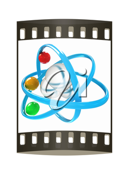3d illustration of a water molecule isolated on white background. The film strip