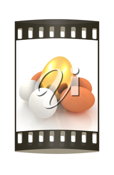 Eggs and gold easter egg. The film strip