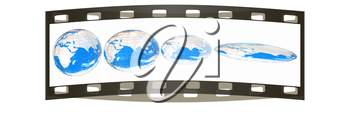 Deformed earth.Concept of degradation. The film strip