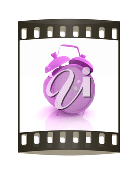 3d illustration of glossy purple alarm clock against white background. The film strip