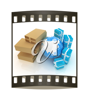 Cardboard boxes, gifts and earth on a white background. The film strip
