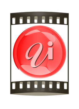 Glossy red button. The film strip