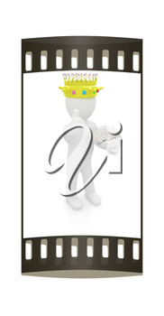 3d people - man, person with a golden crown. King with brain. The film strip