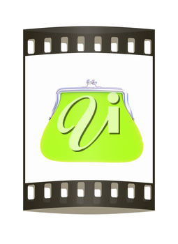 green purse on a white. The film strip