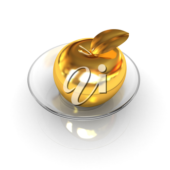 Gold apple on a plate