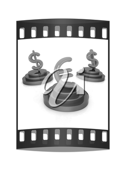 icon euro and dollar signs on podiums on a white background. The film strip
