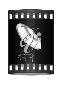 SAT isolated on black reflective background. The film strip