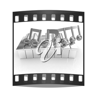 3d note on a piano on a white background. The film strip