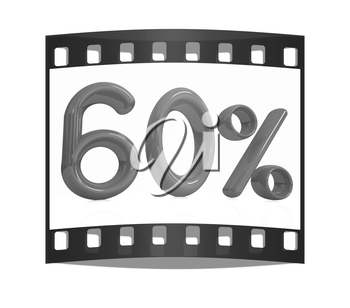 3d red 60 - sixty percent on a white background. The film strip