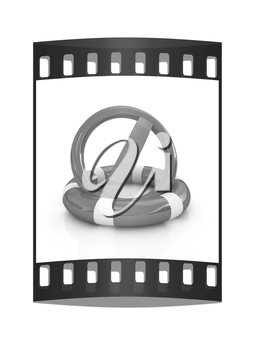 sign a ban on lifeline on a white background. The film strip