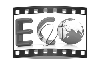 Word Eco with 3D globe on a white background. The film strip