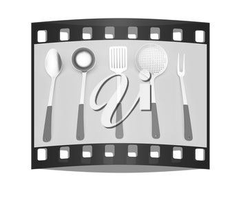 cutlery on a light gray background. The film strip