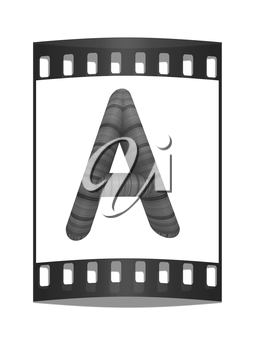 Wooden Alphabet. Letter A on a white background. The film strip
