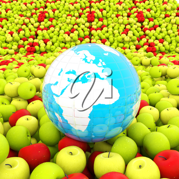 apples background and Earth. Global concept Thanksgiving Day