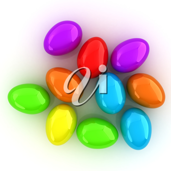 Colored Eggs on a white background